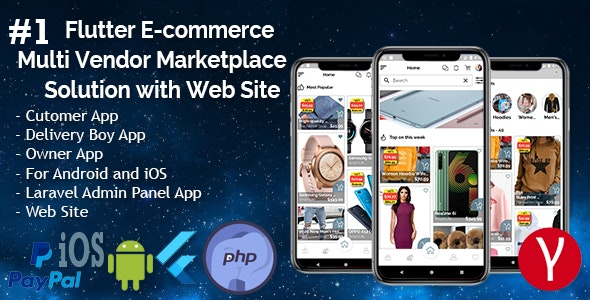 Flutter E-commerce Multi Vendor Marketplace Solution with Web Site (3Apps+PHP Admin Panel+Web Site) - CodeCanyon Item for Sale