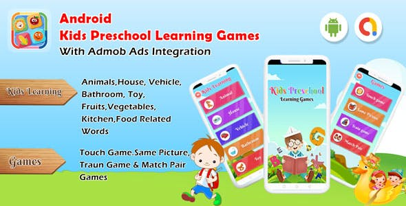 Android Kids Preschool Learning games - Baby First words (Android 11)