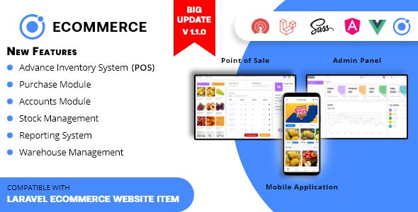 Rawal - Ionic Ecommerce Mobile Application Solution with PHP Laravel CMS and Point of Sale