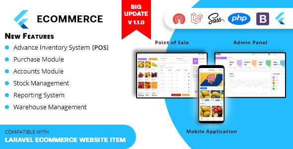 Rawal - Flutter Ecommerce Mobile Application Solution with PHP Laravel CMS and Point of Sale