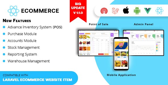 Rawal - React Ecommerce Mobile Application Solution with PHP Laravel CMS and Point of Sale
