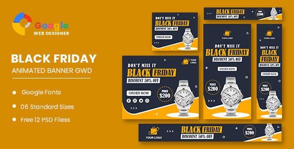 Watch Sale Black Friday HTML5 Banner Ads GWD