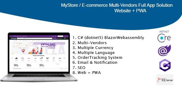 MyStore-  ecommerce multi vendors(Website + PWA) dotnet 5 / C# (BlazorWebassembly)