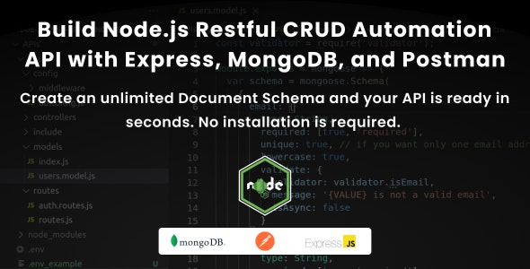 Build Node.js Restful CRUD Automation API with Express, MongoDB and Postman - CodeCanyon Item for Sale