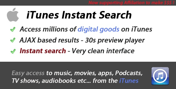 iTunes Instant Search App - CodeCanyon Item for Sale