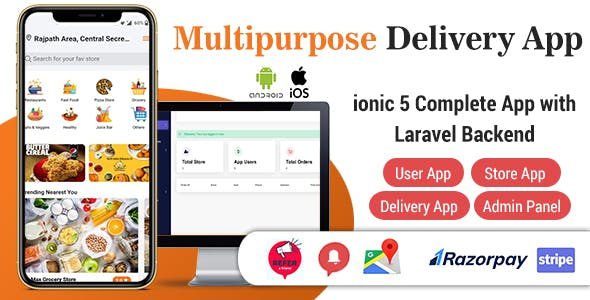 Food Delivery App - Complete SAAS App with Laravel backend (ionic 5)