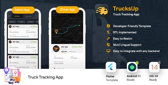 Truck Tracking Android + iOS App Template   2 Apps   Truck App Driver app   Flutter 2   TrucksUp