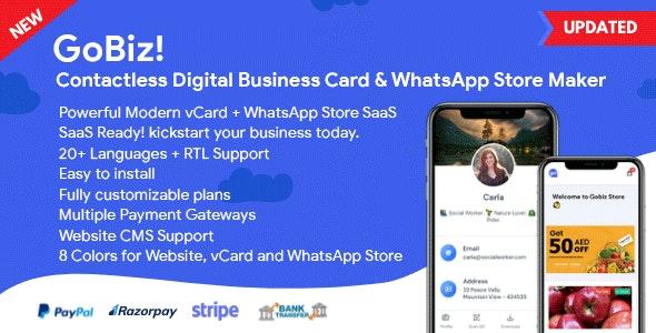 GoBiz v4.0.3 – Digital Business Card + WhatsApp Store Maker | SaaS | vCard Builder – nulled