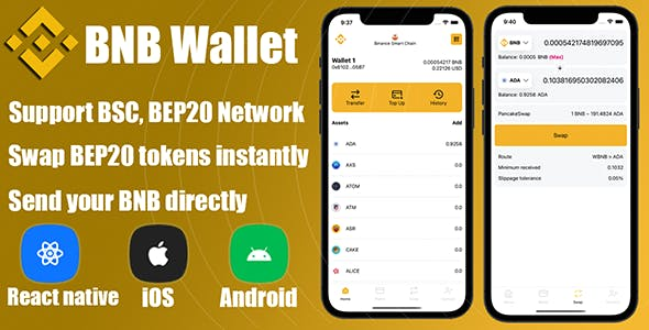 React Native - DeFi Crypto Wallet BNB, BEP20