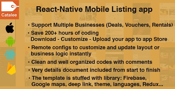 Catalee - React native listing template for deals, vouchers,... - CodeCanyon Item for Sale