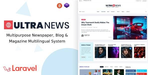 UltraNews - Laravel Newspaper, Blog and Magazine Multilingual System