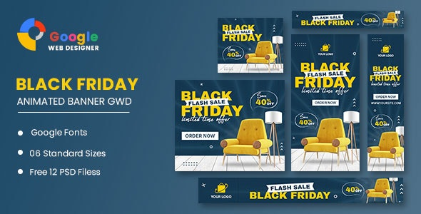 Black Friday Sale Furniture HTML5 Banner Ads GWD - CodeCanyon Item for Sale