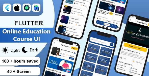 Flutter Online Education Course UI Kit Template - CodeCanyon Item for Sale