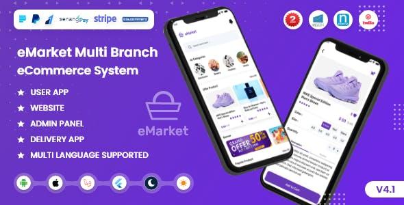eMarket single vendor eCommerce cms (Mobile App, Web, Admin Panel and Delivery boy app) V4.1
