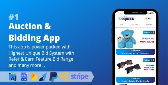 Auction & Bidding App    Highest Unique Bid System with Admin Panel