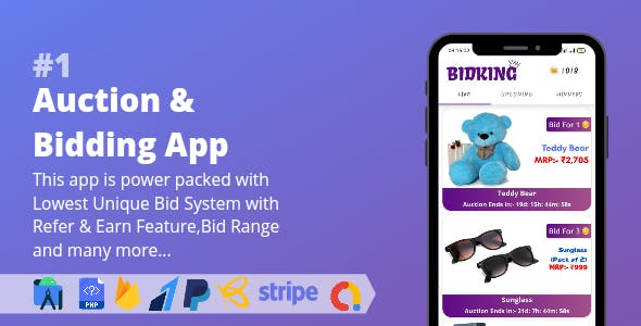 Auction & Bidding App    Lowest Unique Bid System with Admin Panel