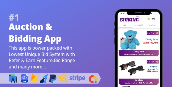 Auction & Bidding App || Lowest Unique Bid System with Admin Panel - CodeCanyon Item for Sale