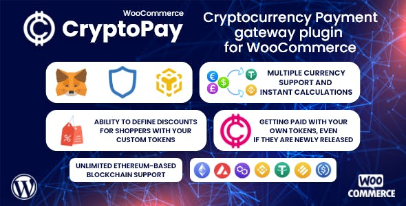 CryptoPay WooCommerce - Cryptocurrency payment gateway plugin