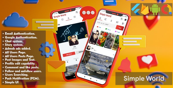 Simple World - Flutter Facebook Clone Full Application - CodeCanyon Item for Sale