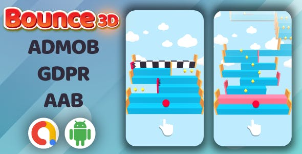 Bounce3D Jumping Ball Android Game + Admob