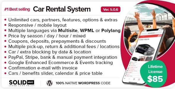 Car Rental System (Native WordPress Plugin) - CodeCanyon Item for Sale