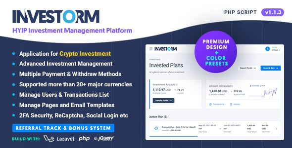 Investorm v1.1.3 – Advanced HYIP Investment Management Platform – nulled