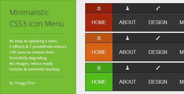 Minimalistic CSS3 Icon Menu