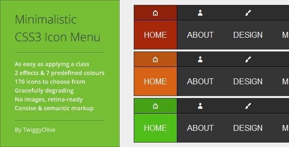 Minimalistic CSS3 Icon Menu - CodeCanyon Item for Sale