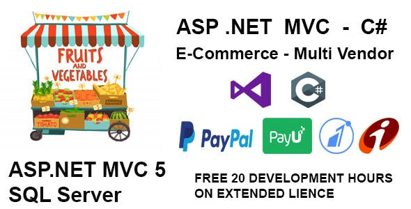 Vegetables and fruits Multiple Vendor Shopping Website in MVC