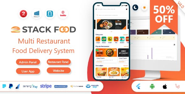 StackFood Multi Restaurant - Food Delivery App with Laravel Admin and Restaurant Panel v4.0