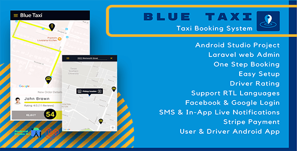 Blue Taxi- Taxi booking system, Android Studio project