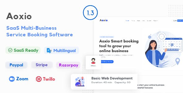 Aoxio - SaaS Multi-Business Service Booking Software