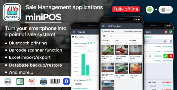 Mini Point Of Sale Application Android + iOS  Fully Offline