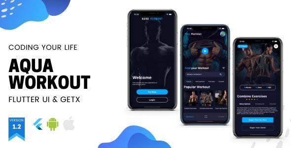 Aqua Workout (Fitness) App v1.2.0 - Flutter UI Kit using GetX - CodeCanyon Item for Sale
