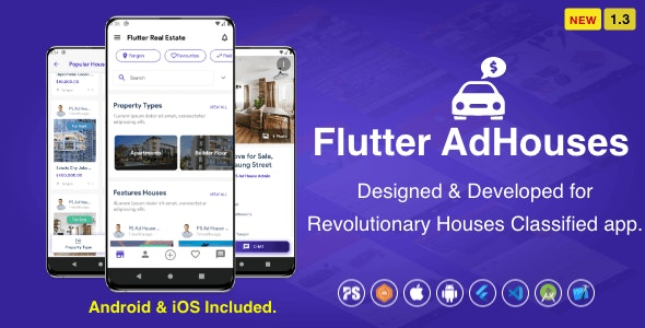 Flutter AdHouses For House Classified BuySell iOS and Android App with Chat ( 1.3 ) - CodeCanyon Item for Sale