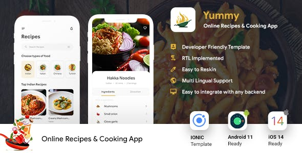 Online Recipes & Cooking Android + iOS App Template | IONIC 5 | Yummy