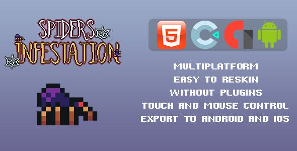 Spiders Infestation Arcade Game - Template for Construct 3
