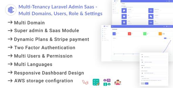 Multi-Tenancy Laravel Admin Saas - Domains, Users, Role, Permissions & Settings
