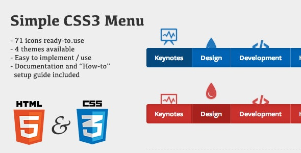 Simple CSS3 Menu - CodeCanyon Item for Sale