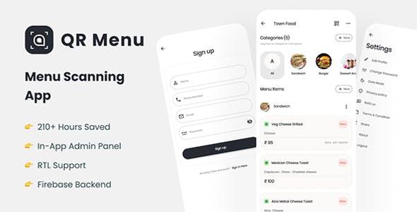 Restaurant QR Menu: Flutter app with Firebase backend