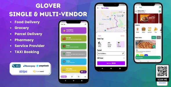 Glover – Grocery, Food, Pharmacy Courier & Service Provider + Backend + Driver & Vendor app