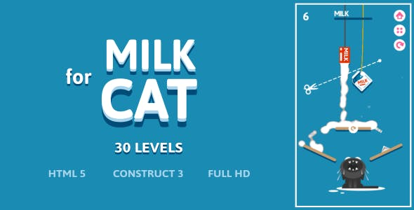 Milk For Cat - HTML5 Game (Construct3)
