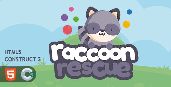 Raccoon Rescue Bubble Shooter HTML5 Construct 3 Game
