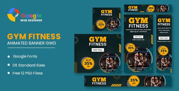 Gym Fitness Google Adwords HTML5 Banner Ads GWD