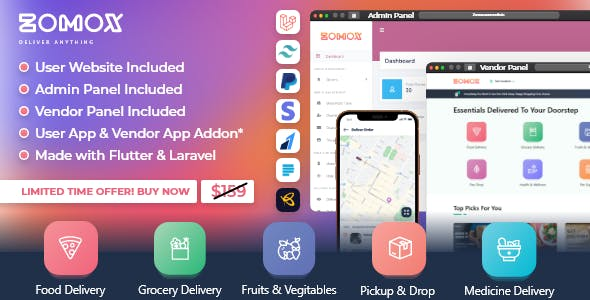 Zomox Grocery, Food, Pharmacy Courier & Service Provider + Backend + Driver app