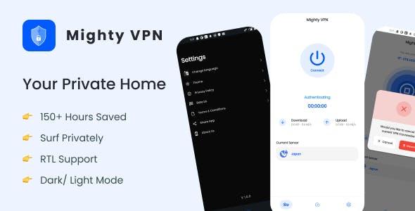 MightyVPN :Flutter app for Secure VPN and Fast Servers VPN