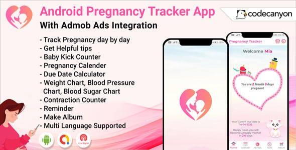 Android Pragnacy Tracker for Women - Period Calendar, Baby kick counter, Pregnancy tips, Reminder
