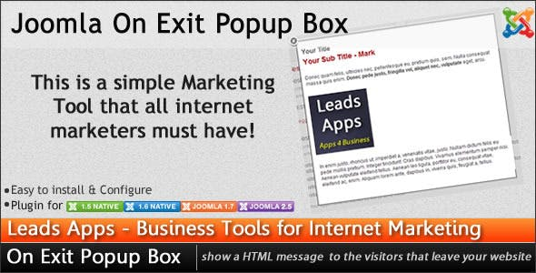 Joomla On Exit Popup Box