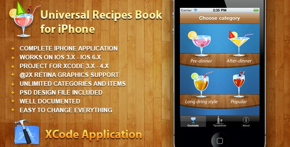 Universal Recipes Book for iPhone for iOS 3.x-6.x - CodeCanyon Item for Sale