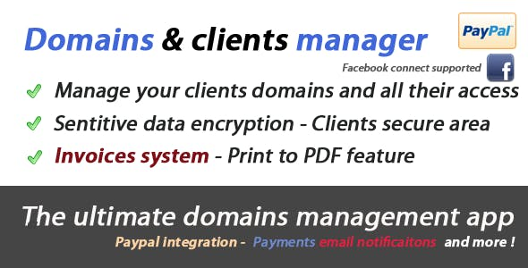Ultimate Domains & Clients Manager with Paypal